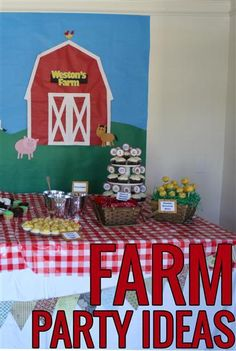 Ideas for a fun barnyard/farm theme party. Cute!