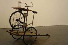 The 'Bike Blender Trailer' sculpture by Adam Dirks for the Cooper Union end-of-year show. Constructed from reclaimed bike parts and Adam's own sculpture work.