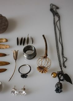 Poppy Seed Pod and Leaf Charm necklace by NatalieMusgrave