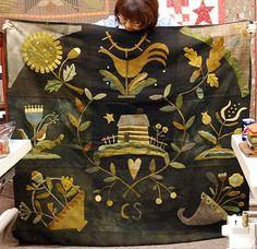 hand, folk art, art quilt, wool appliqu, bonanomi style, maggi bonanomi, primitive quilts, primit quilt, fiber art