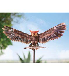 yard sculptur, yard oasi, bronz owl, owl metal, metal yard