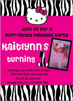 Zebra Hello Kitty 1st Birthday Invitation