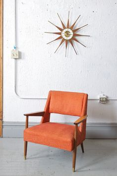 Mid Century Modern Danish Style Orange Lounge by departmentChicago