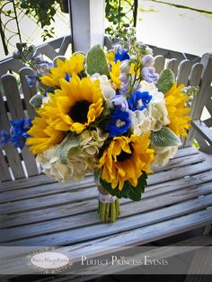 Rustic sunflower wedding bridal bouquet designed by Perfect Princess Events