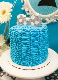 Blue Ruffle Bow Tie Cake