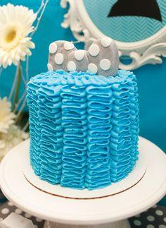 Blue Ruffle Bow Tie Cake