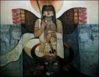 Durga-o-Bull-III Painting By Arun Kumar Samadder