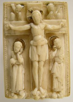 Carved ivory with gilding plaque of the Crucifixion, ca 1000, Germany.