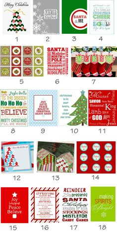 Free Christmas Printables: don't agree with the religious ones but could use the others