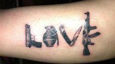 love gun tattoo, guns tattoo, gun tattoos, ak 47 tattoo, garter and gun tattoo, a tattoo, tattoo guns, tattoo ink, tattoos guns