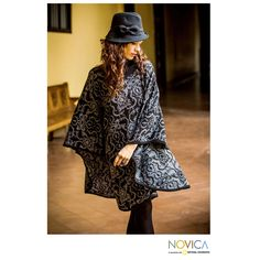 Sublime Black - Alpaca Wool Blend Patterned Poncho at The Rainforest Site