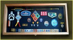 table decorations, cub scouts, boy scout, cub scout awards display, eagle scout, shadow box, court, arrow of light ideas, display cases
