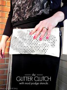 DIY Glitter Clutch with Mod Podge Stencils
