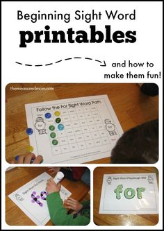 beginning sight word printables fun Beginning Sight Word Printables