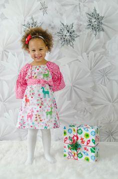 Holiday dress, Christmas dress, Peasant dress, girls dress, toddler dress, dress-Girls sizes 12 months-5 years. $45.00, via Etsy.