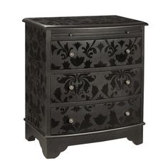 Ooh, pretty!  Dresser painted in black matte paint stenciled with black gloss paint.
