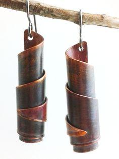 Copper Spiral Bead Earrings - $25.00, via Etsy.