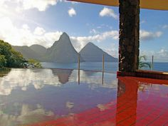 Colorful Mosaic Tile Infinity Pools at Jade Mountain Luxury Resort in St. Lucia