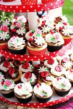 Cute lady bug & flower cupcakes