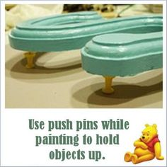 Use push pins to hold art projects up as you paint. AWESOME!!