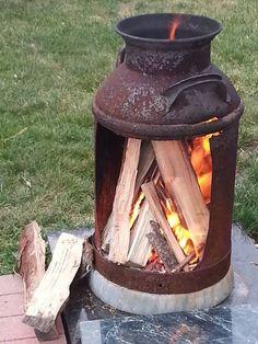 homemade fireplace.