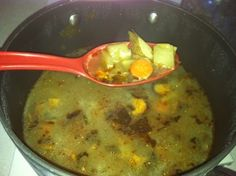 medicinal chicken soup w healing herbs.  I will make this Vegan by using Vegetable broth and skipping the chicken.