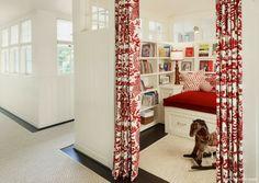 curtains, book nooks, basement, playroom, door, librari, reading nooks, hous, kid