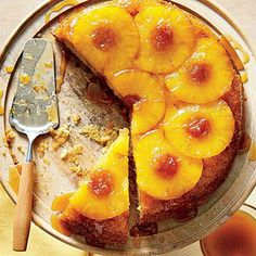 Honey-Pineapple Upside-Down Cake | Honey gives this classic Southern cake a lift. Fresh pineapple slices work well here too. | SouthernLiving.com