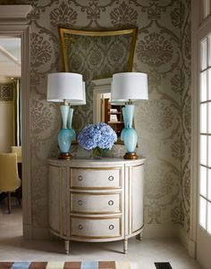 foyer - wallpaper, mirror and cabinet