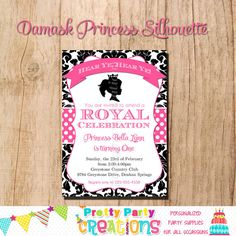 DAMASK PRINCESS SILHOUETTE invitation  by PrettyPartyCreations, $11.50