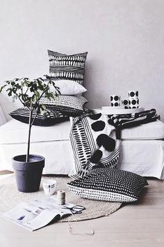 black n white, pattern, decorating ideas, white decor, black white, cushion, textil, throw pillows, modern homes