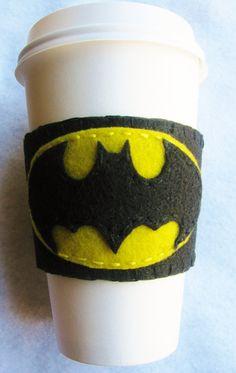 Batman Felt Coffee Cozy by TheWannaBeCrafter on Etsy, $7.50