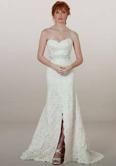 Beautiful strapless Alencon lace mermaid gown with front slit and sweetheart neckline   5865 from Liancarlo