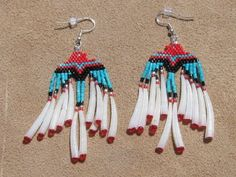 NATIVE AMERICAN BEADED EAGLE EARRINGS WITH DETALIUM by Beading4u  #beadwork   #jewelry #crafts