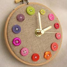 crafti thing, button crafts, button clock, kid crafts
