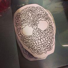 Sugar skull, shoulder tattoo