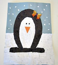 Mosaic Penguin Craft from @Kiboomu cute #craft for #kids