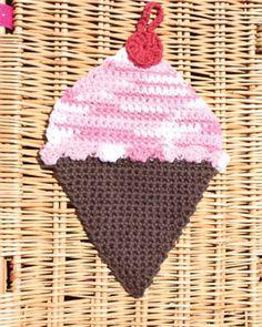 Lily Sugar n Cream - Ice Cream Dishcloth, free pattern to crochet.