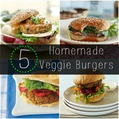 Celebrate Meatless Monday with these 5 Homemade Veggie Burgers. #healthy #veggie #recipe