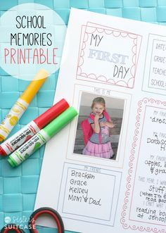 My Sister's Suitcase: First Day of School Memory Page Printable + Blog Hop