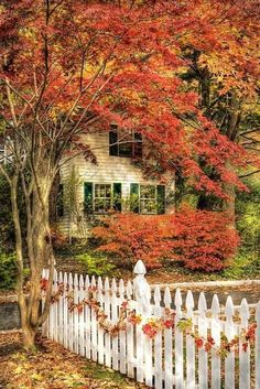 A white picket fence adorned with a leaf garland.