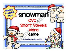 Snowman CVC & Short Vowel Game from Teacher Features on TeachersNotebook.com -  (20 pages)  - CVC and Short Vowels Snowman Game: (Contains 162 cards/ 20 pages)