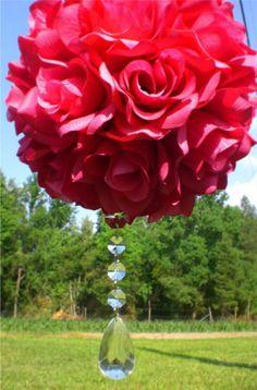 Finished DIY Pomander :  wedding diy flowers fuchsia kissing ball pink pomander ball white Pomander Ball
