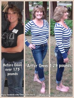 In 2012 I was at my heaviest weight of 178, I started Omni 4, Omni Drops, & Nite Lite in February 2013 and have said GOODBYE to over 53 pounds FOREVER.  I feel awesome, sleep better, and have more energy than I know what to do with!!  OMNI products have changed my life!!  THIS COULD BE YOU!! Contact me for more information: www.omnitrition.com/cheriebaker  email:  Omni4 you@ live.com