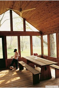 dining rooms, screen porches, bench, picnic tables, porch furniture, enclosed porches, vaulted ceilings, summer kitchen, screened porches