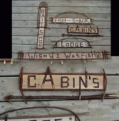 lake fishing decor | ... Resort Sign Rustic Twig Wood Cabin's Arrow Cabin Theme Decor