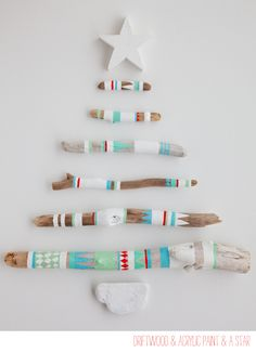 holiday painted driftwood by leslie shewring