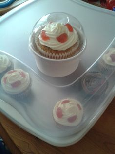 Cute little FULLY compostable takeway containers from Vegware for individual cupcakes. www.facebook.com/bakeeatlovetreats Vegan.