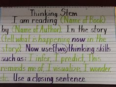 For the Love of Teaching: Thinking Stems/Anchor Charts