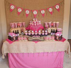 Destiny's Pink Cowgirl Party Dessert Buffet - pink bandanas!!